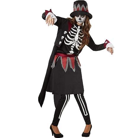dressforfun 900510 - Disfraz de Mujer Dama Esqueleto Espeluznante ...