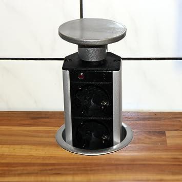 Versenkbare Steckdose für Küche und Büro – Tischsteckdose aus ...