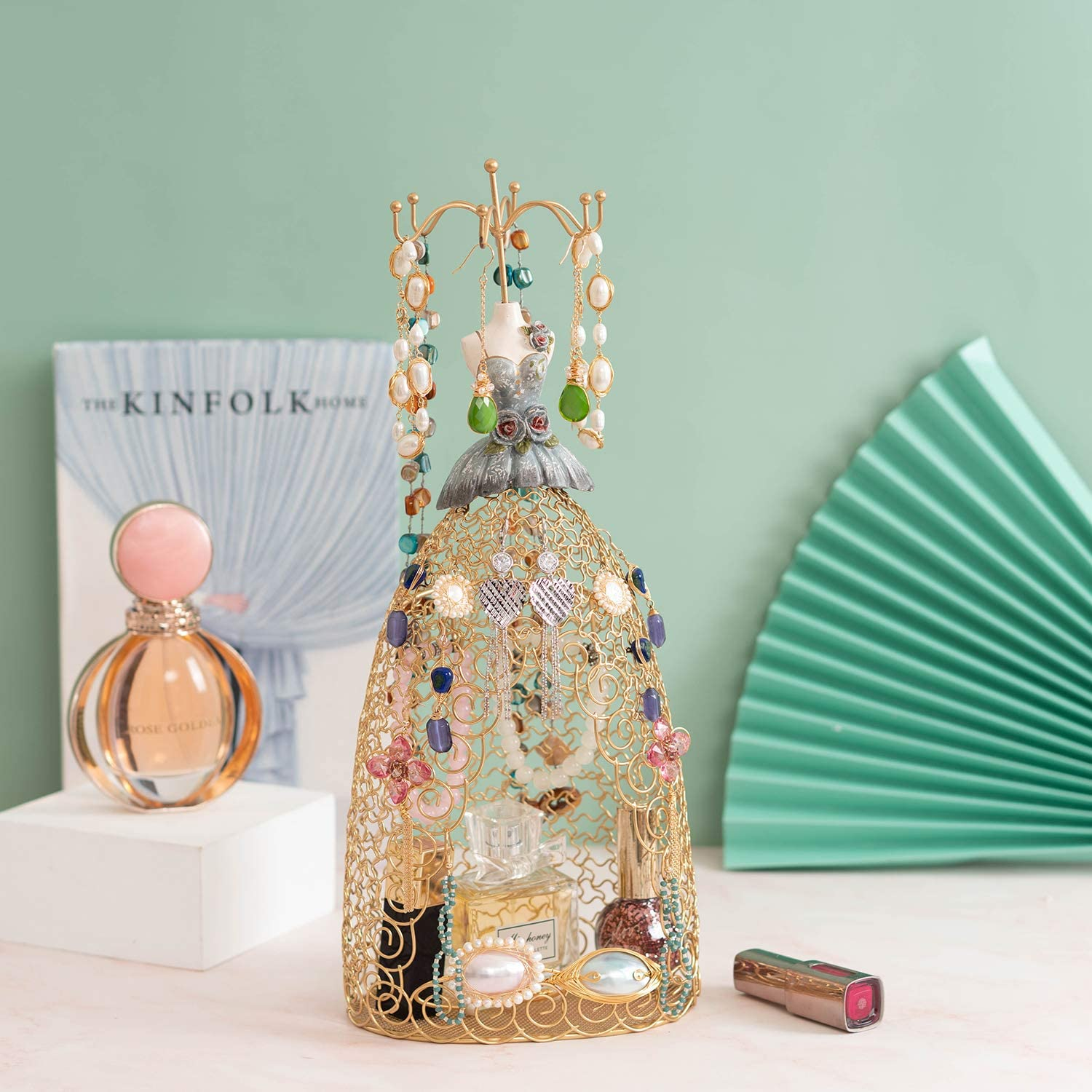 Gold Lady Mannequin Jewelry Stand Gold Jewelry Display Stand Holder Earring Stand Necklace Holder Jewelry Hanger Figure Jewelry Holder Tower Rack Organizer Lady in Dress Style