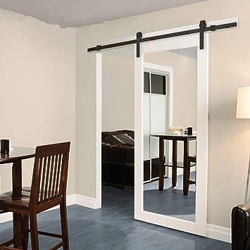 Juego de rieles de puerta corredera, Moderno armarios deslizantes para puertas de granero, unidad de sistema de rieles para puerta de madera simple: ...