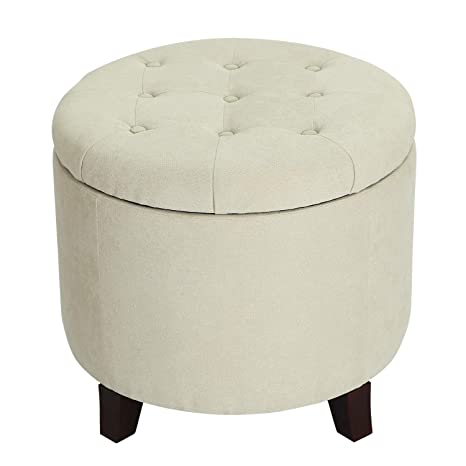 Wondrous Adeco Fabric Cushion Round Button Tufted Lift Top Storage Ottoman Footstool 20X20X18 Beige Creativecarmelina Interior Chair Design Creativecarmelinacom