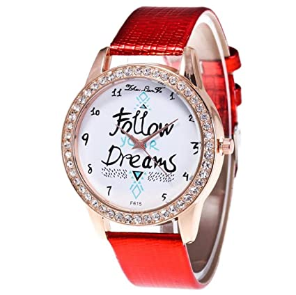 liberalism Fashion Rose Gold Women Watches Diamonds Follow Dreams Pattern Leather Quartz Wrist Watches Casual Clock