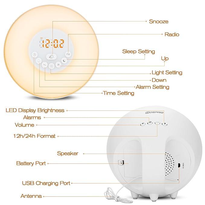 Wake Up Light Luz Despertador Amanecer Simulación de Salida del Sol,Luces Nocturna con FM Radio, 6 Sonidos Naturales,Control Táctil