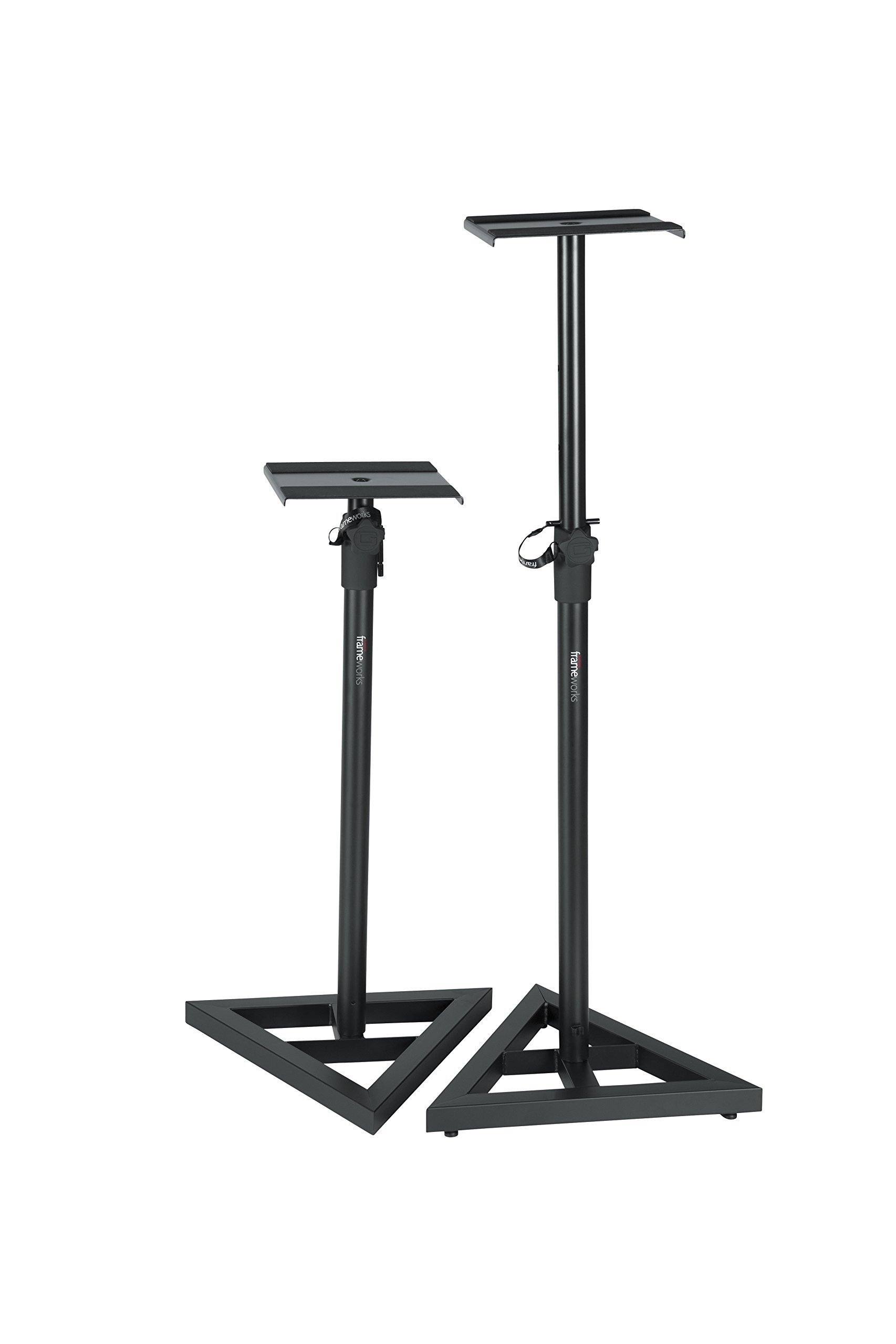 Gator Frameworks Studio Monitor Stands with Adjustable Height and Locking Saftey Pin; Pair (GFW-SPK-SM50)