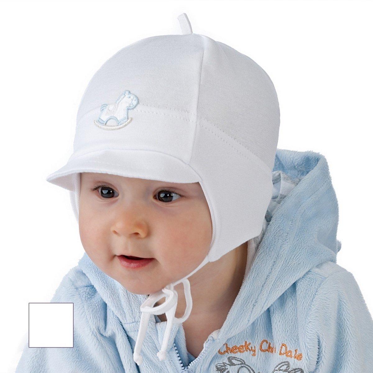 New Baby Boy Hat Boys Spring Autumn Peak Cap Christening Baptism Hat 0 -12 mths (9-12 months 46cm, White) For Kids