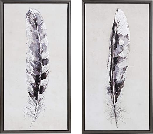 Boho Single Feather Ink Print Art Black White Grey Color Modern Home Decor 11x14 Poster Only
