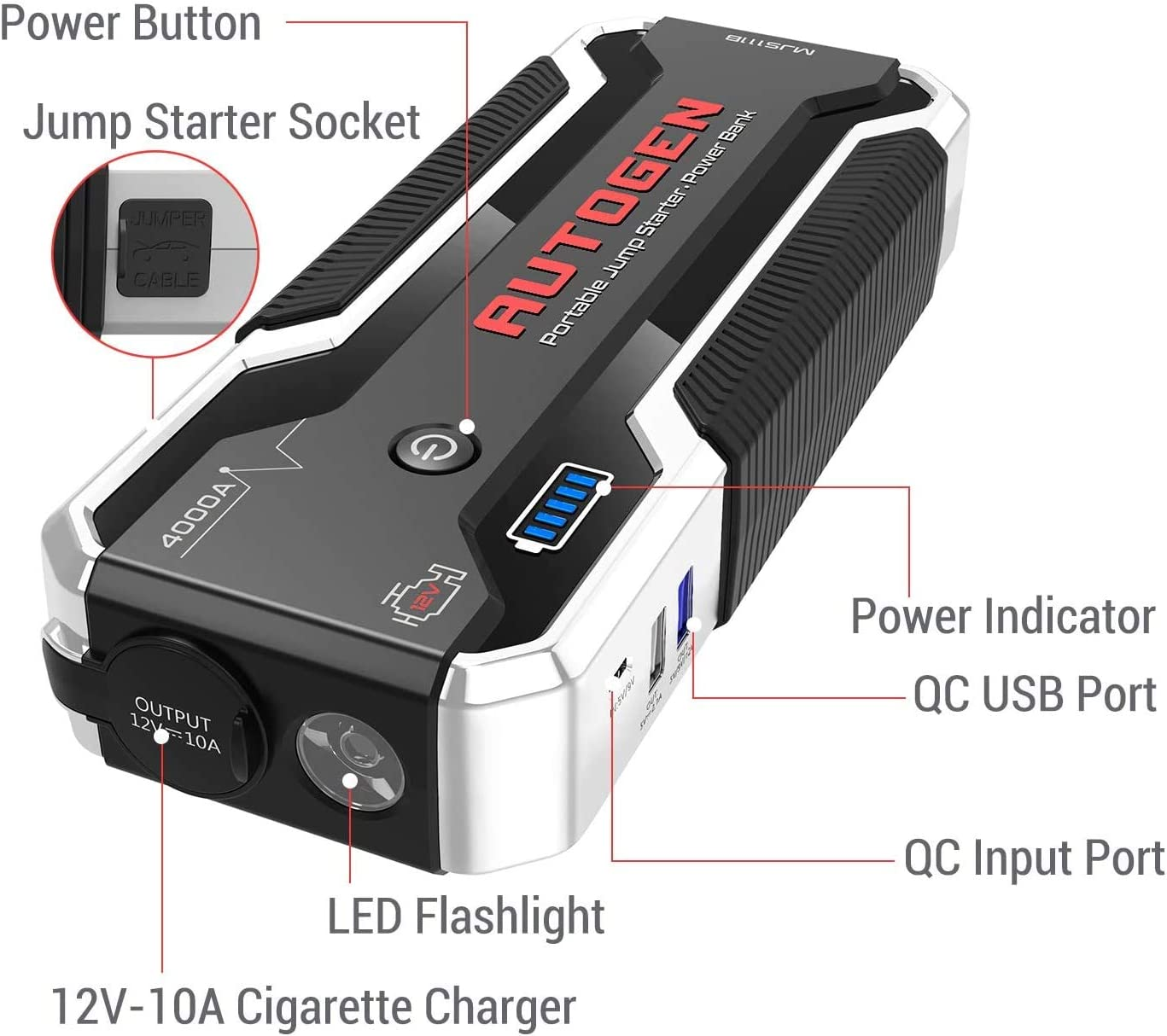 12-Volt Portable Lithium Battery Jumper Box Booster Pack for Cars SUVs Huge Power Bank with Quick Charge 3.0 Trucks AUTOGEN 4000A Car Jump Starter 10.0L+ Gasoline /& Diesel