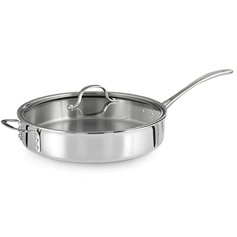 Amazing Calphalon Tri Ply Stainless Steel 5 Quart Saute Pan With Cover Home Remodeling Inspirations Genioncuboardxyz