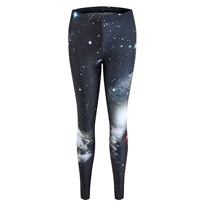 fe35da20751bb Ourlove Fashion Womens Galaxy Printed High Waist Leggings Sexy Smooth Crazy  Patterned Slimming Pants (Black