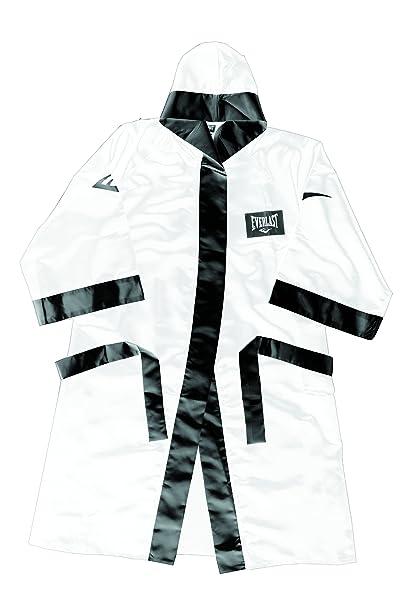 Everlast Bekleidung Full Length Boxing Robe with Hood Bata de Boxeo, Unisex, Blanco/