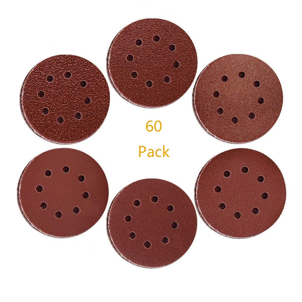 Sanding Discs 5 inch Sanding Pads Hook and Loop Sanding Disc Sandpaper 60 PCS 40//60//80//120//180//240 Assorted Grits Disc Sander