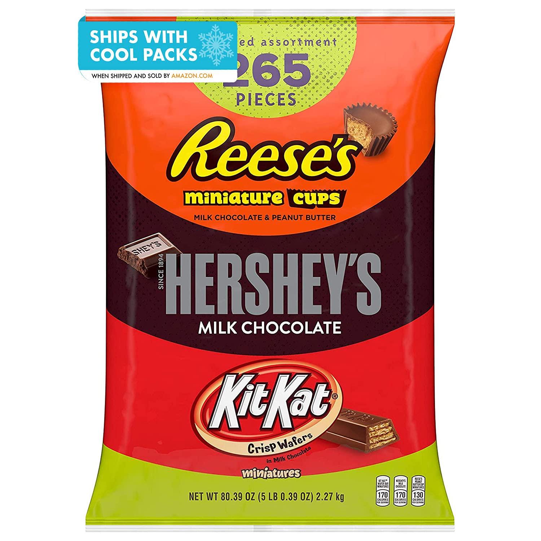 REESE'S, HERSHEY'S and KIT KAT Assorted Milk Chocolate Miniatures Candy, Bulk, 80.39 oz Bulk Variety Bag (265 Pieces) : Grocery & Gourmet Food