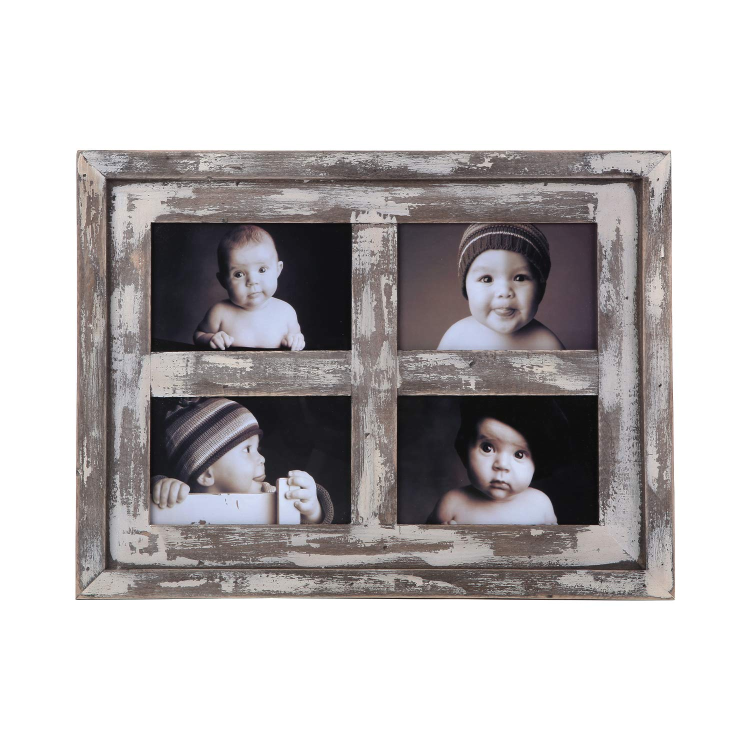 Faunlife Collage Picture Frames Made of Rustic Distressed Weathered Reclaimed Wood - Display Four 4x6 Pictures, White by Faunlife