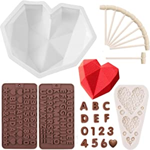 HSJL Heart Shaped Mold for Chocolate Set - Breakable Heart Mold with 8Pcs Wooden Hammers, Number and Letter Mold, Heart Button Fondant Mold, Perfect for Birthday, Valentine Candy, Chocolate Making