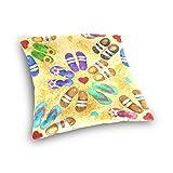 alaza Double Sided Watercolor Heatr Flip Flop Beach Cotton Velvet Throw Pillow 18x18 Inch Zipper Pillowcase for Decorative Pillows