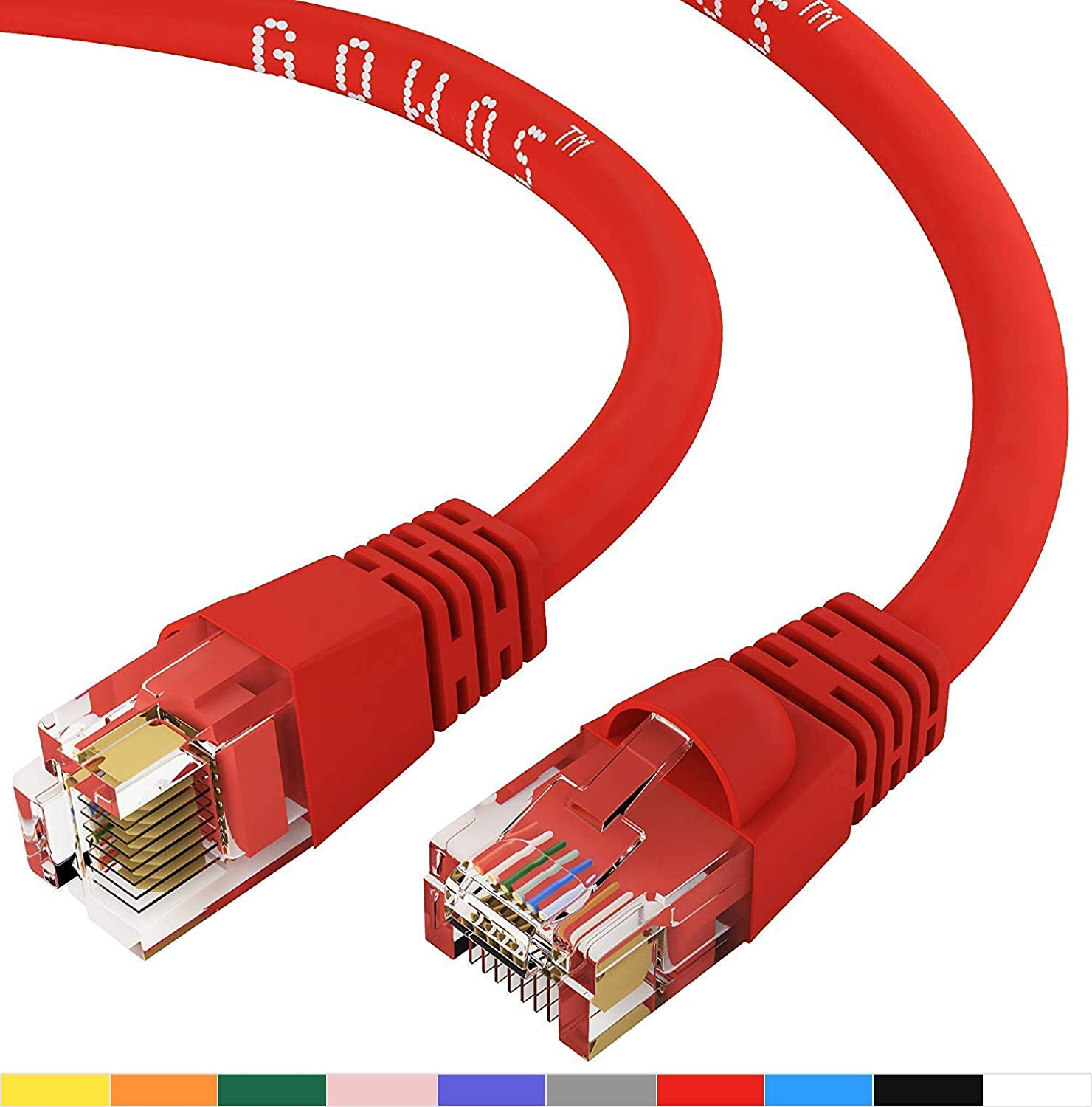 24AWG Network Cable with Gold Plated RJ45 Snagless//Molded//Booted Connector 550MHz 10 Gigabit//Sec High Speed LAN Internet//Patch Cable Black GOWOS Cat6 Ethernet Cable 10-Pack - 12 FT