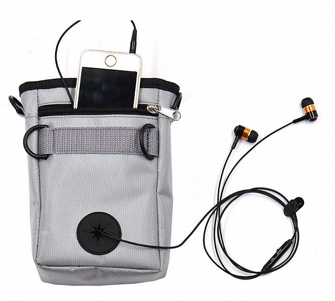 DrecratART Dog Treat Pouch, Nylon Oxford Tote Bag, Poop Bag Dispenser, Earphones Dispenser, Adjustable Waist Belt, Carry Snacks and Toys - Grey