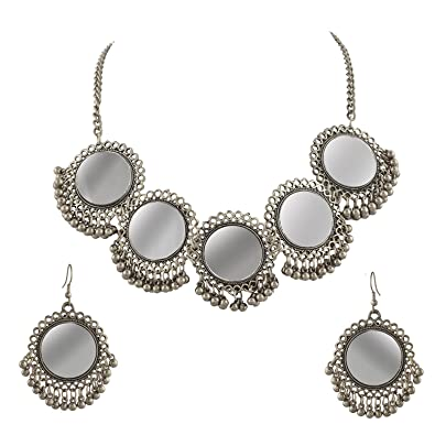 896fba5d8 Cardinal Oxidised Silver Afghani Tribal Traditional Necklace Set with  Earrings for Women: Amazon.in: Jewellery