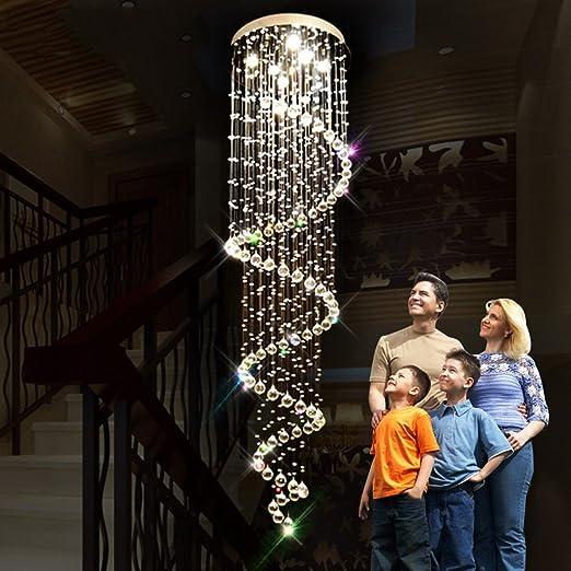 iluminación Lámparas de cristal, luces giratorias de la escalera doble Chalet largo de la lámpara de la lámpara de la escalera las luces interiores (Tamaño : 12 lights/80*250cm) : Amazon.es: Hogar