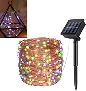 Solar Light String 200 LED 72FT 8 Patterns of Solar Fairy Light String Copper Wire lamp, Used for Garden, Terrace, Christmas, Wedding, Party Interior Decoration, Outdoor Waterproof (Multicolor)