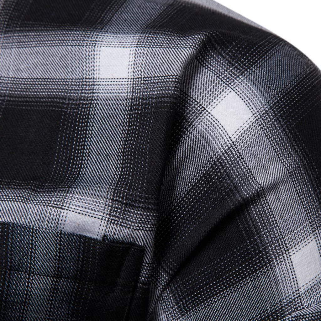 GUCIStyle-ropa Hombre Moda Negocio Ocio Impresi/ón a Cuadros Camisa de Manga Larga Tops Blusa,Slim Herringbone Check Shirt
