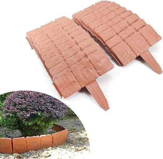 10 unidades de separadores de jardín de plástico con efecto de piedra gris adoquinada de Parkland, Terracotta(20PCS): Amazon.es: Jardín