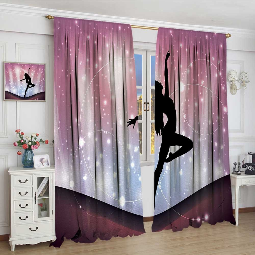smallbeefly Contemporary Room Darkening Wide Curtains Silhouette of Ballerina Performing on Abstract Backdrop Magic Dance Fine Arts Decor Curtains By 72''x84'' Multicolor