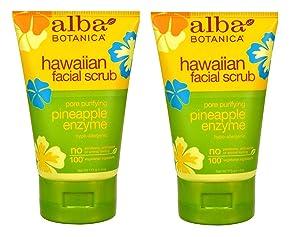 Alba Botanica Pore Purifying Pineapple Enzyme Hawaiian Facial Scrub, 4 Ounce Tubes (Pack of 2)