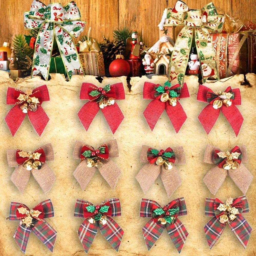 FABSELLER Christmas Bowknot Ornaments 12pcs Bows with Jingle Bells Wedding Party Linen Bow Hanging Decor for Xmas Tree