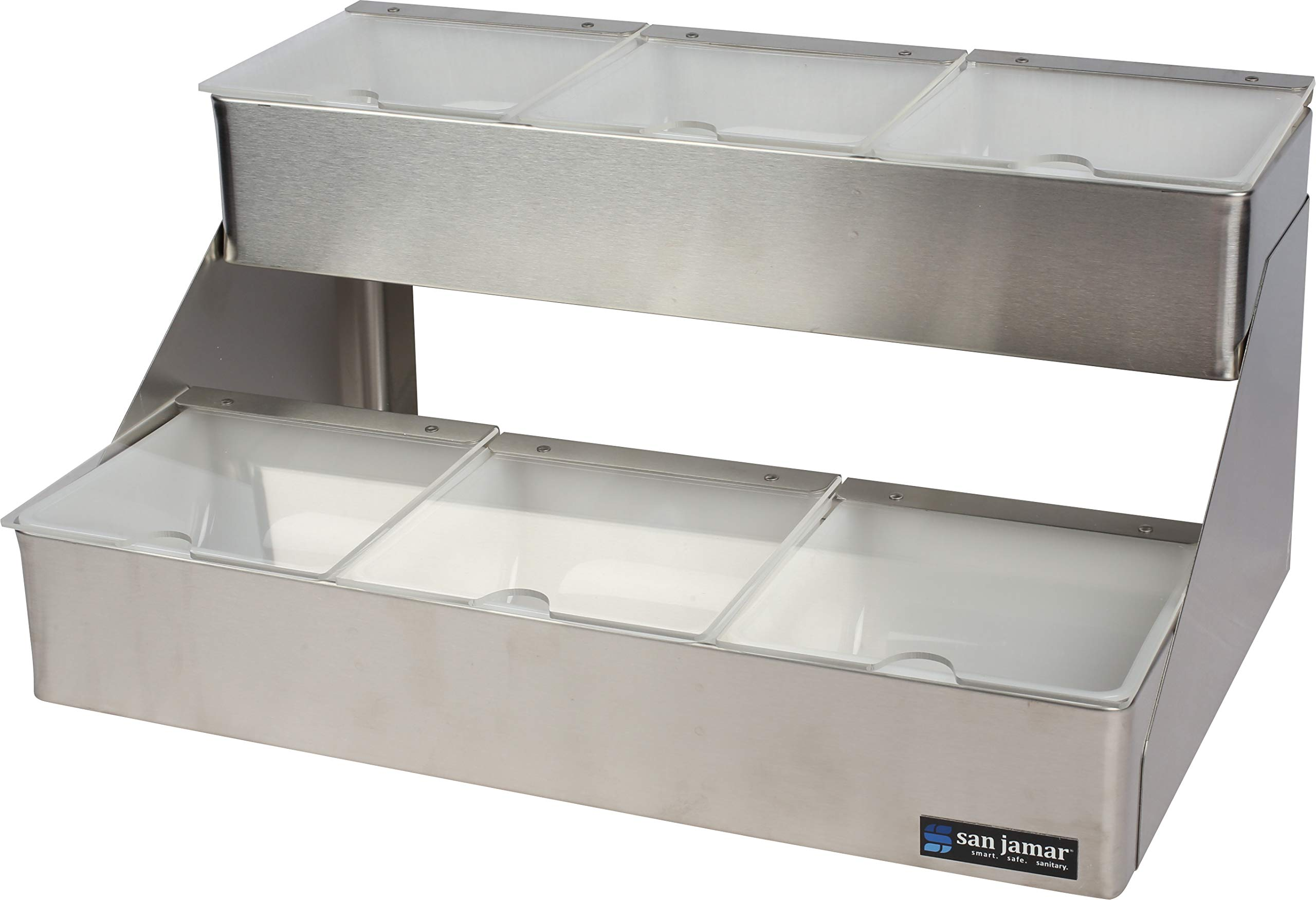 San Jamar B4706INL San Jamar B4706INL 6-Quart Stepped Tray with Notched Lids, Stainless Steel, Stainless Steel