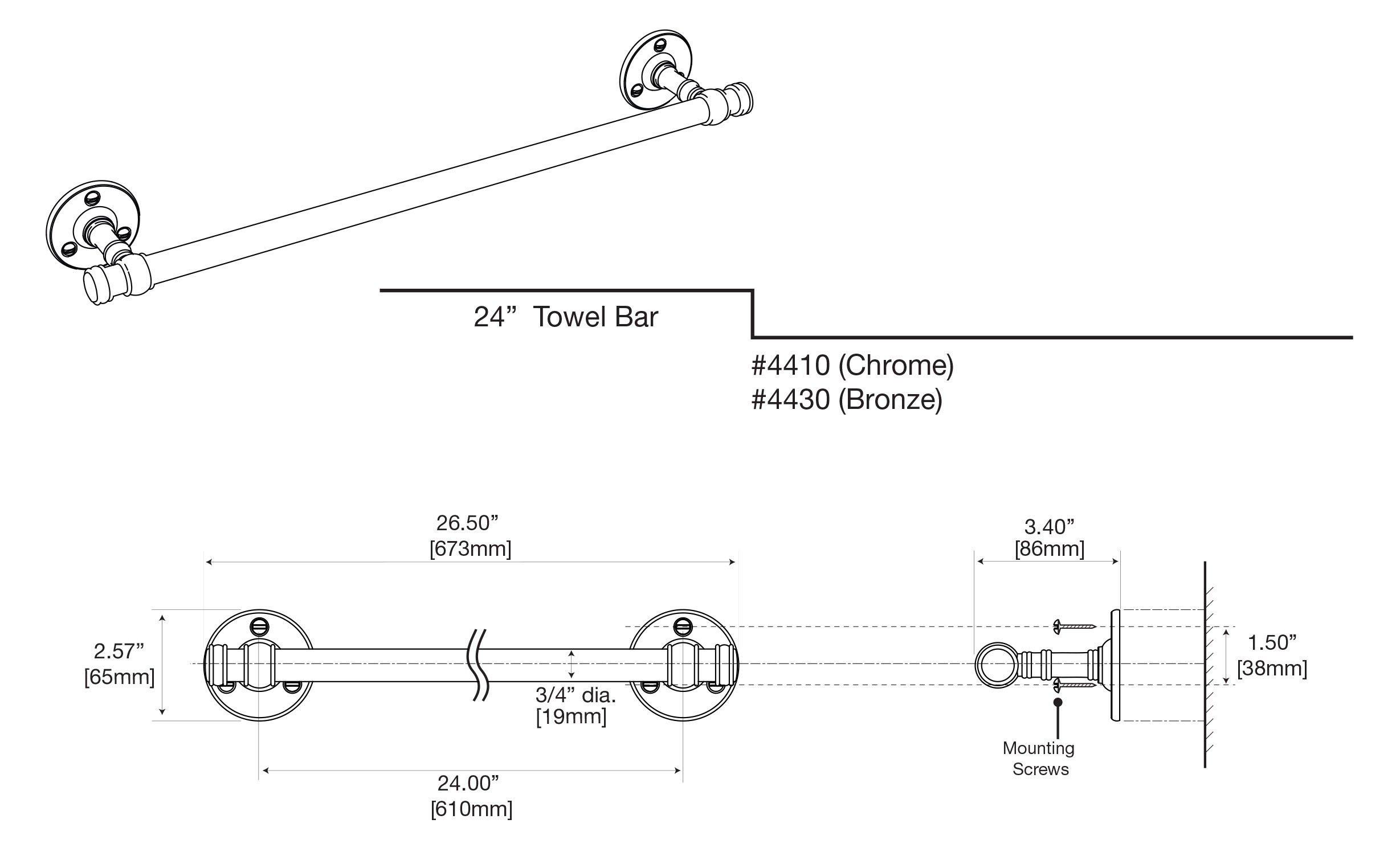 Gatco 4410 Cafe 24'' Towel Bar, Chrome by Gatco (Image #5)