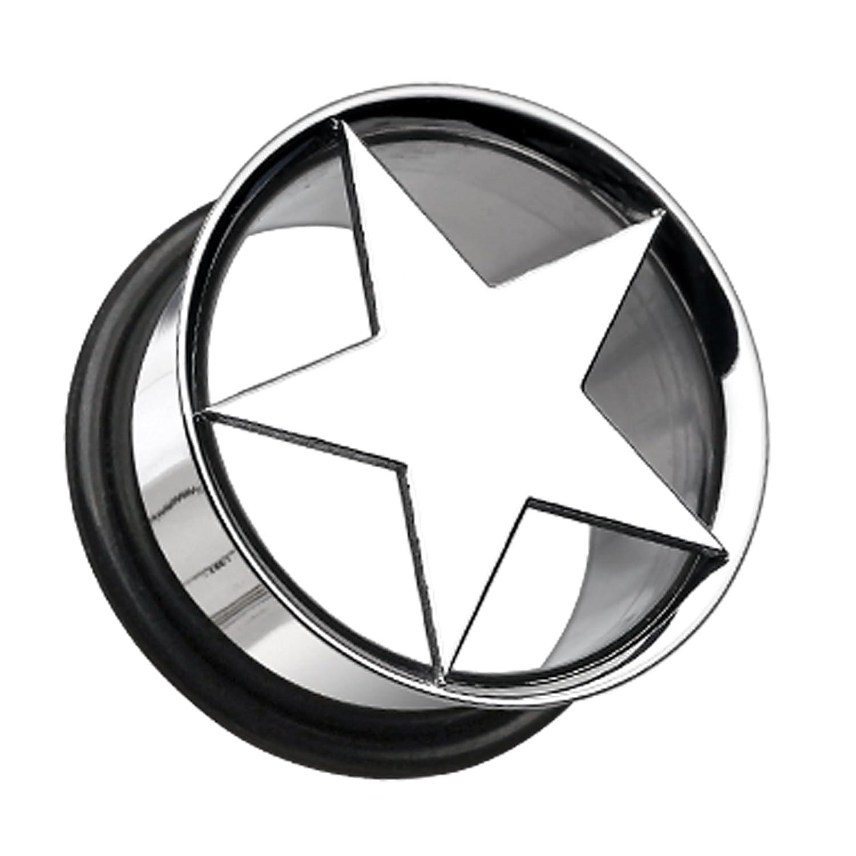 Nova Star Hollow 316L Surgical Steel Single Flared Ear Plug Sold as a Pair