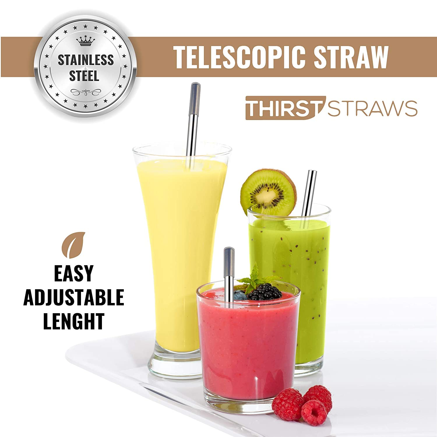 Environment Thirst Straws Telescopic Reusable Straws 2 Pack Folding Metal Straw with Case in Stainless Steel Ideal for Parties Celebrations Home Travel Office