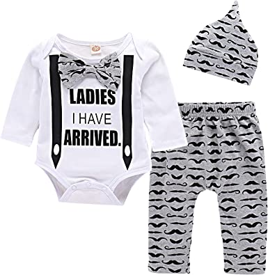 Yilaku Baby Romper Pajamas Baby Boys Girls Sleepsuits Sleepwear for 0-24 Months Newborn 3 Pcs Cotton Long Sleeve Baby Clothes with Hats