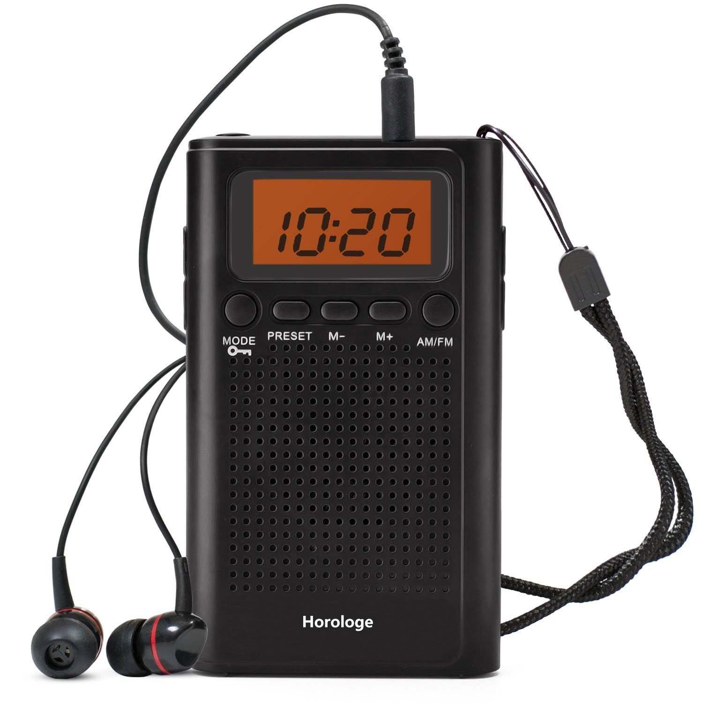 Horologe Portable Pocket Handy AM FM Radio with Speaker, Sleep Timer, Preset, Alarm Clock and Earphone