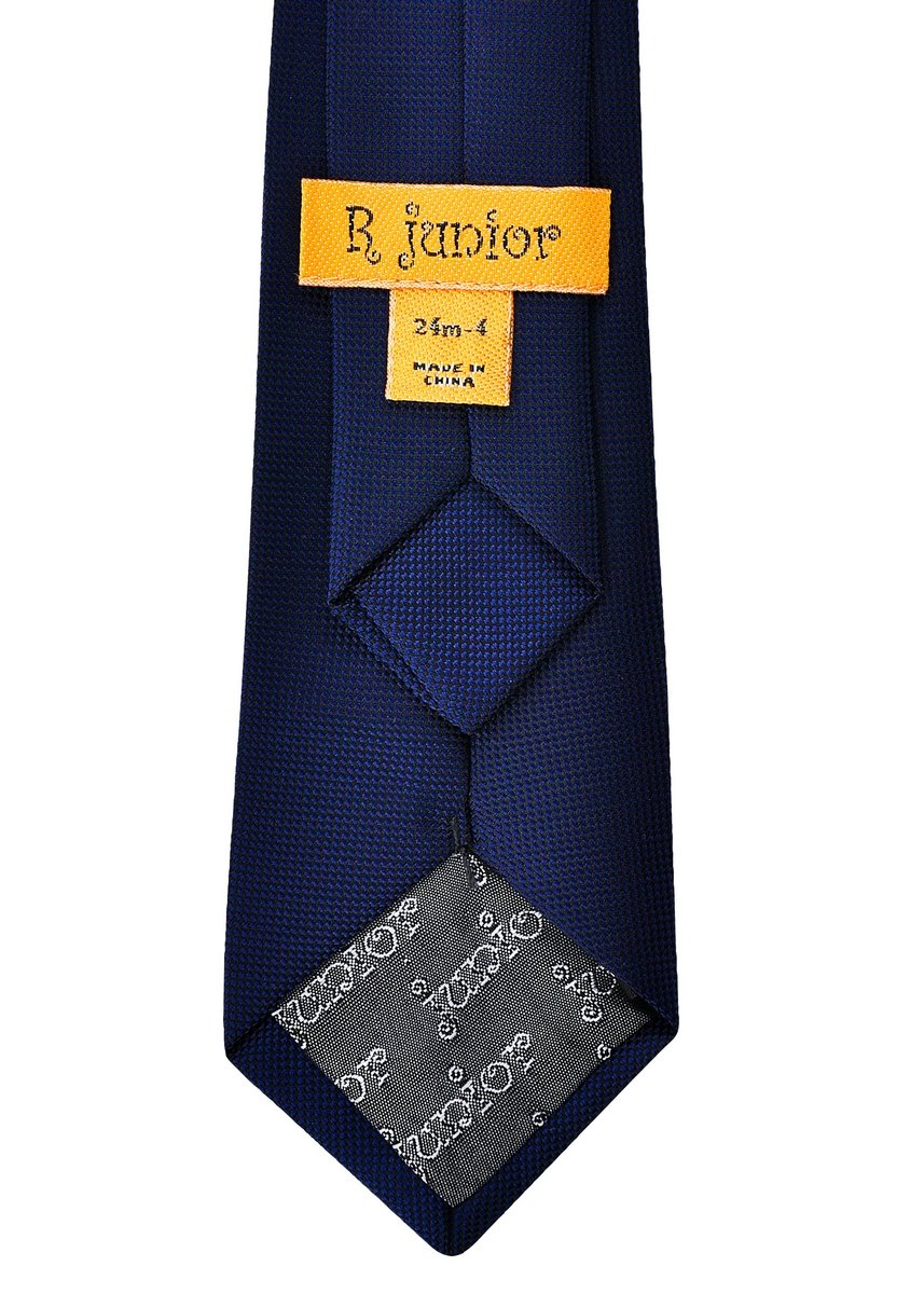 Retreez Solid Plain Color with Square Textured Woven Microfiber Pre-tied Boy's Tie - Navy Blue - 24 months - 4 years by Retreez (Image #3)