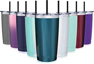 20oz Travel Tumbler, Aikico Vacuum Insulated Travel Coffee Mugs, Stainless Steel Double Wall Thermos with Splash Proof Lid and Black Straws, Travel Coffee Tumbler Cup, Glitter Blue Green