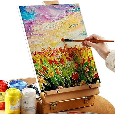 Caballete de Madera for Pintar Bosquejo Cuadro de Dibujo Caja de Pintura al óleo Accesorios for portátiles Suministros de Arte Artista HUYP: Amazon.es: Hogar