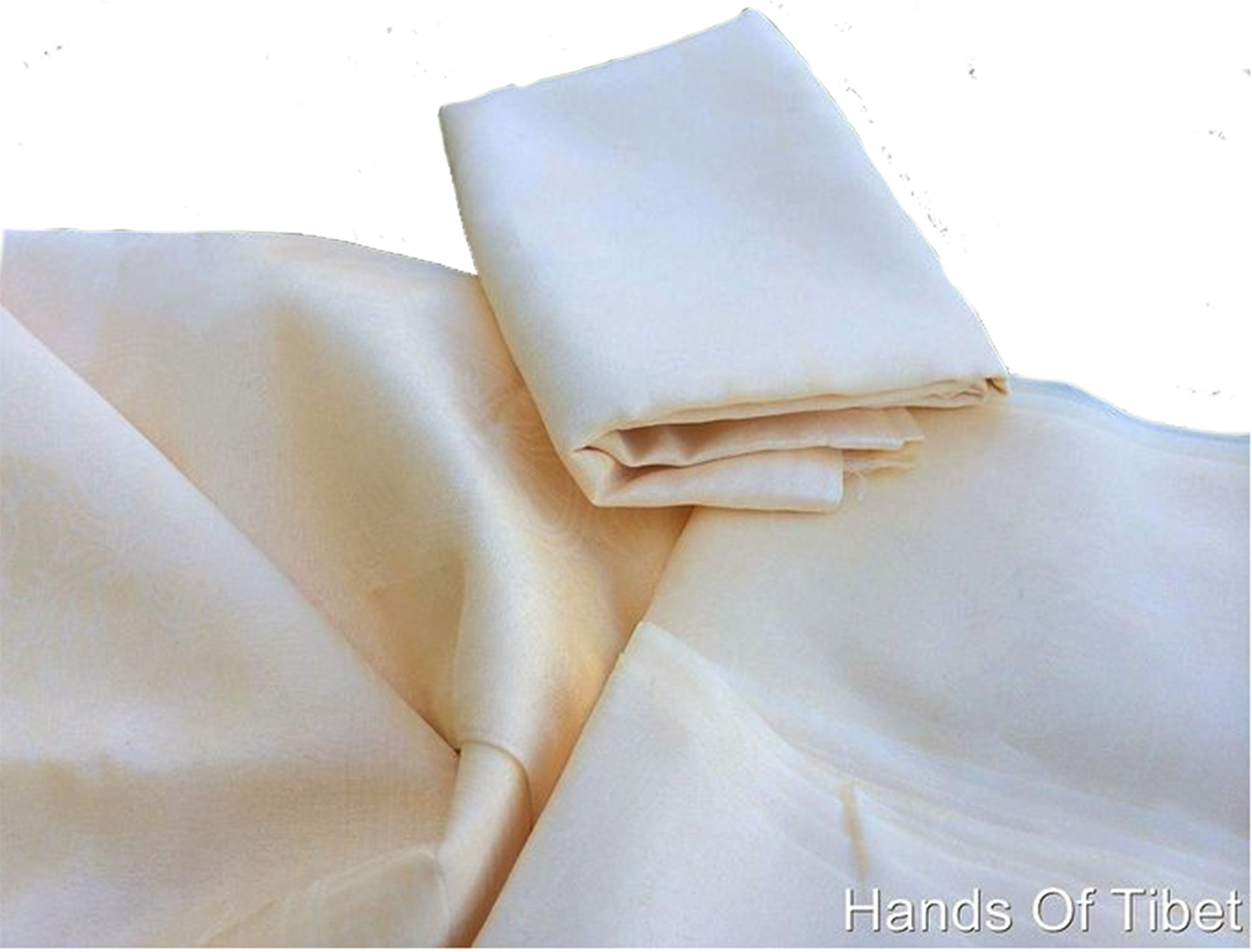 Traditional Tibetan Prayer Scarves Off White Lot of Four Set by Hands Of Tibet (Image #3)