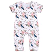 Happy Town Baby Girls Jumpsuit Hoodie Romper Outfit Long Sleeve Creepers Bodysuit Summer Clothes (White#1, 6-12 Months)