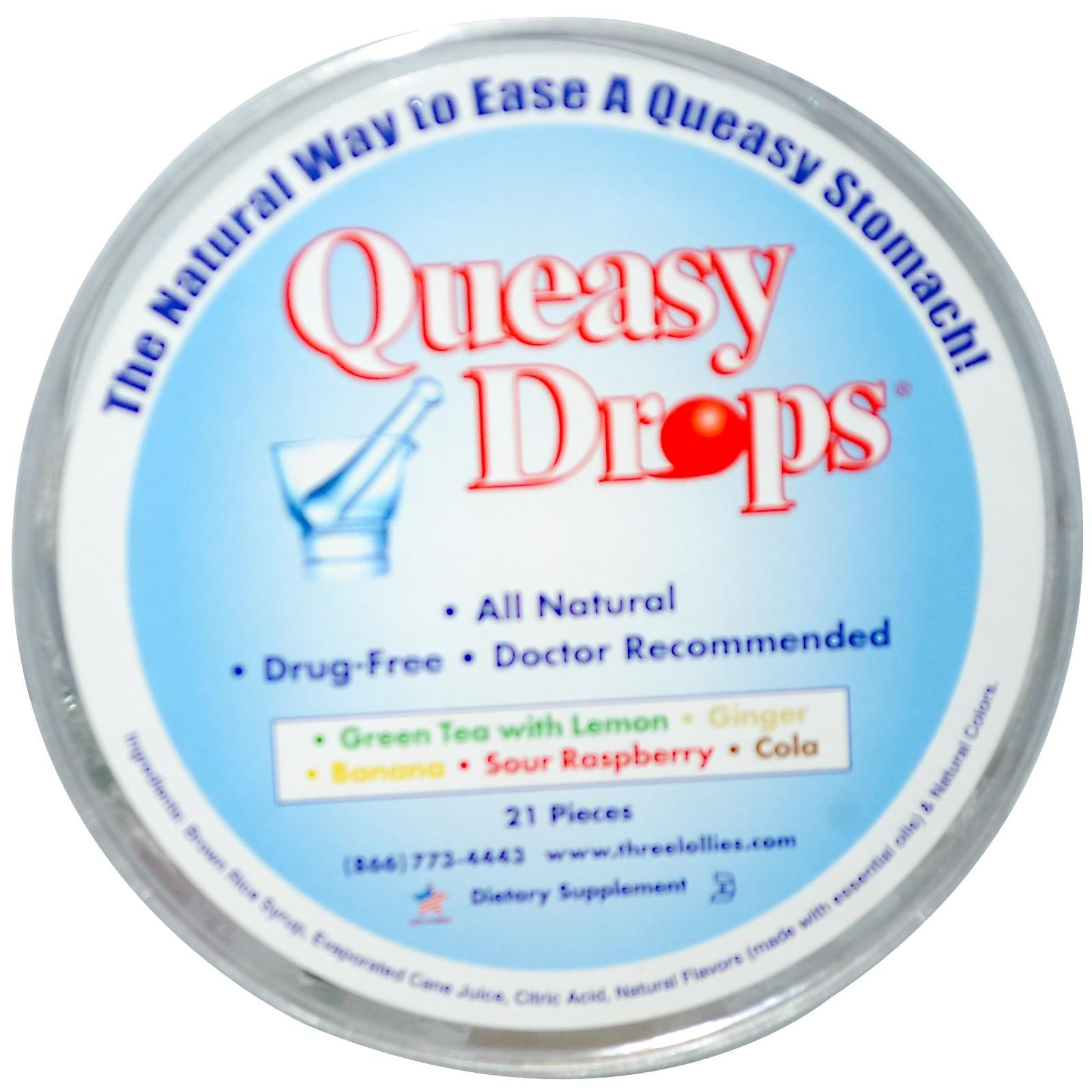Three Lollies Queasy Drops Container 21 Ct
