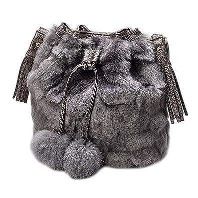 152858eaf2 LA HAUTE Womens Faux Fur Pu Leather Tassel Bucket Bag Solid Color Shoulder  Bag Drawstring Hobo