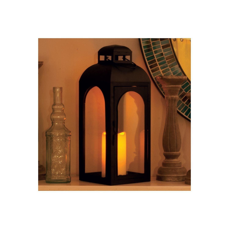 Moreno Metal Candle Lantern, Black Finish