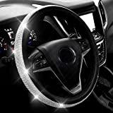 Nova capa de volante de couro de diamante com strass de cristal brilhante, ajuste universal, protetor de roda de carro de 38