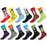 Bonangel Men's Fun Dress Socks-Colorful Funny Novelty Crew Socks Pack,Art Socks
