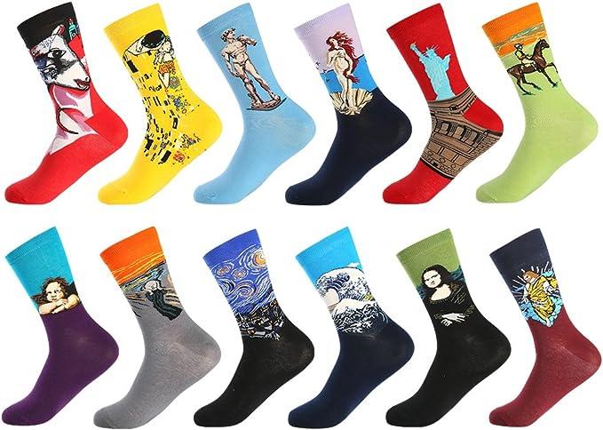 BONANGEL Chaussettes Homme Fantaisie Lot Chaussette Homme en Coton, Chaussettes et Multicolores,Cadeau Homm
