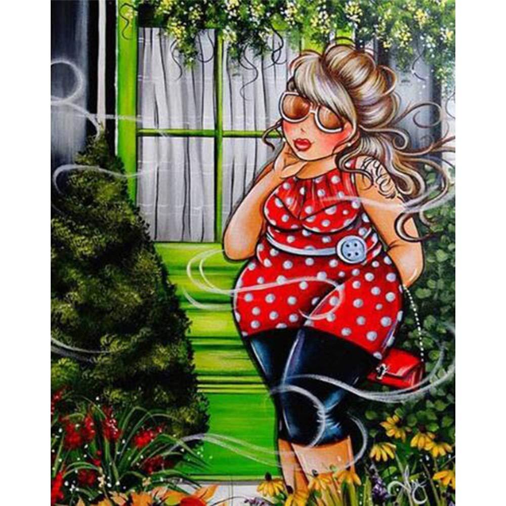 DIY 5D Diamond Painting Cartoon Woman feilin Diamond Embroidery Rhinestone Painting Cross Stitch Kit Wall Art Decor 5D Diamond Painting by Number Kits Home Decor 25x30cm
