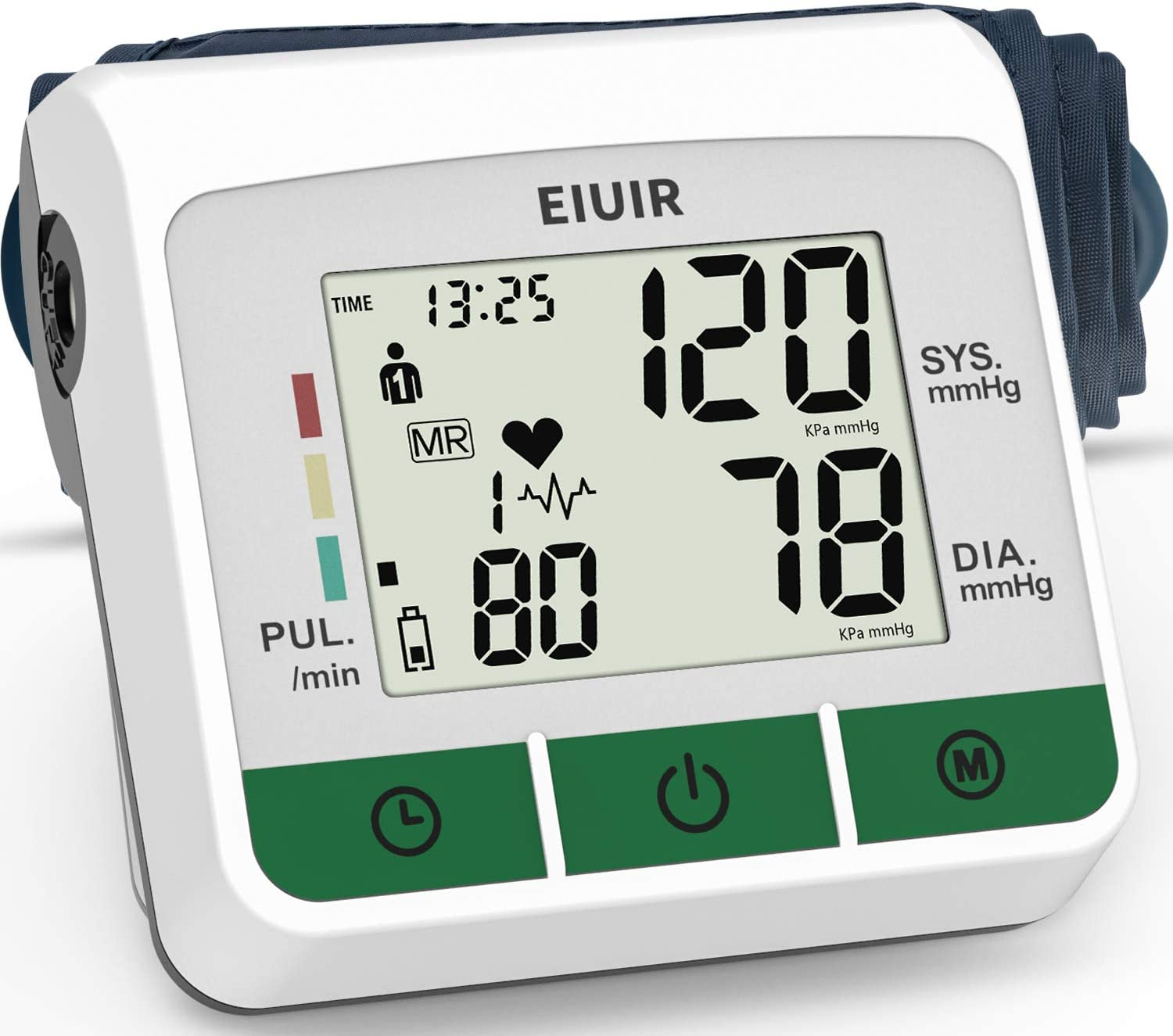 2021 Newest Upper Arm Blood Pressure Monitor Blood Pressure Machine Heart Pulse Rate Monitoring Meter with M Size Cuff 22-32 cm 2×120 Sets Memory LCD Display Screen for Home Office Use