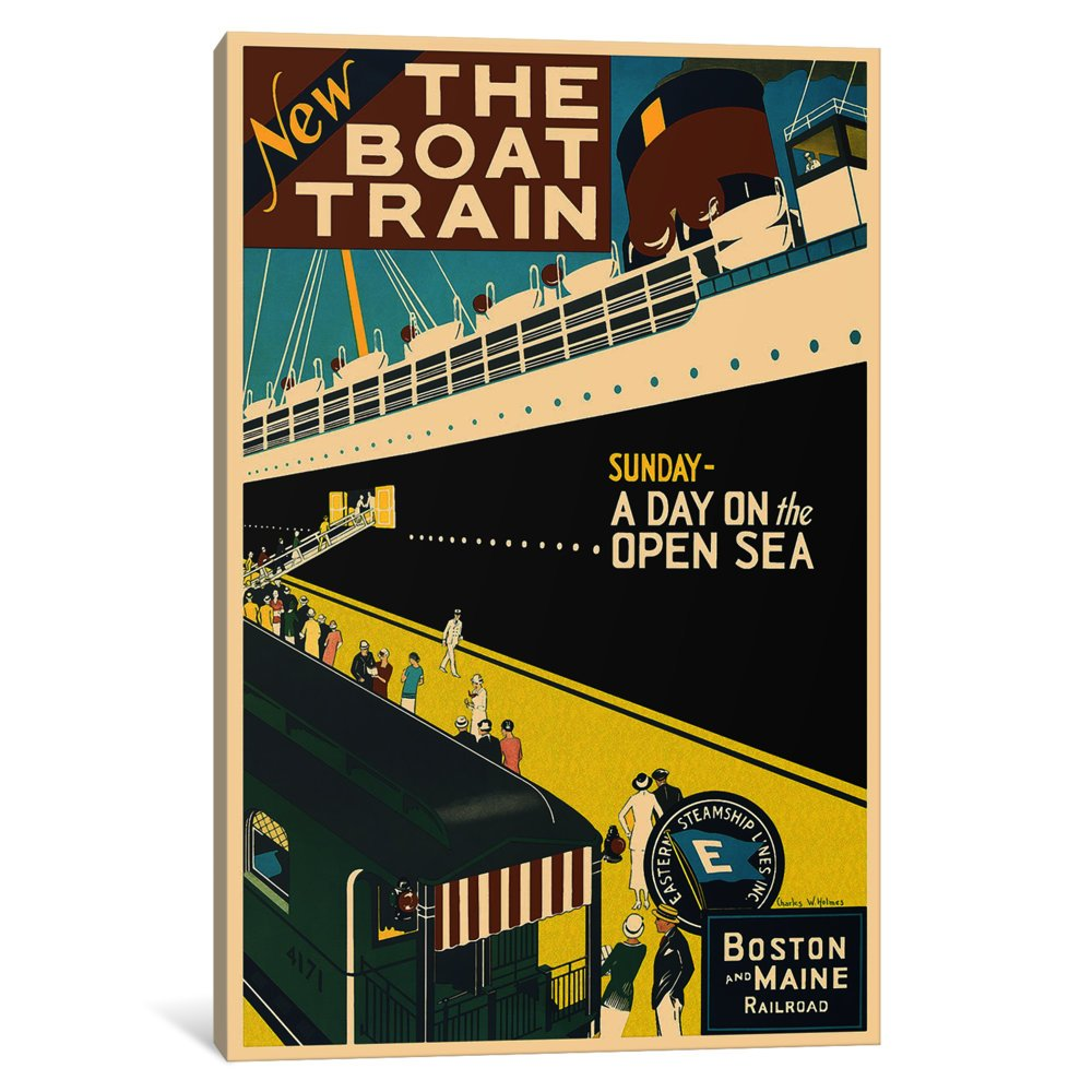 iCanvasART 3-Piece The Boat Train Boston and Maine Railroad Advertising Vintage Poster Canvas Print by Unknown Artist 1.5 by 60 by 40-Inch