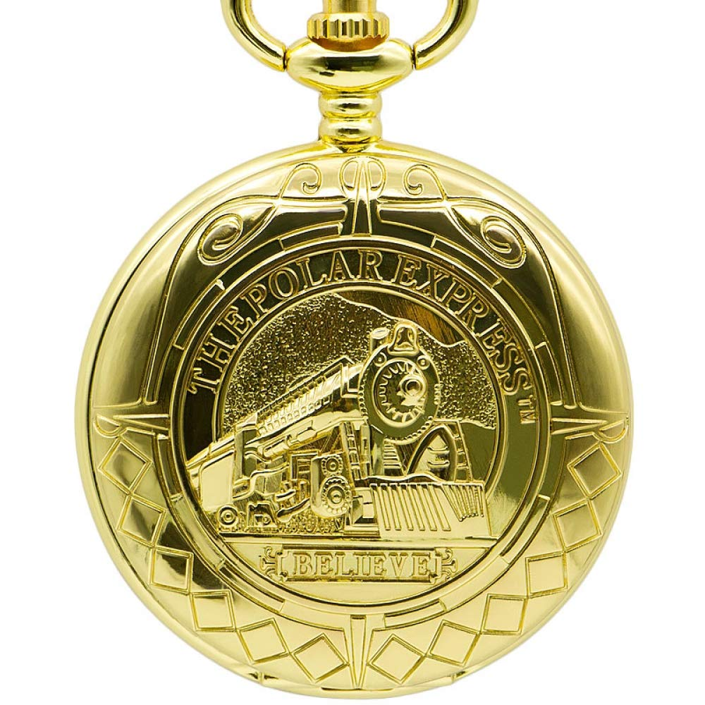 DYH&PW Full Gold Pocket Watch Mechanical Hand Wind Gold Pendant FOB Double Necklace Chain Railway Clock for Men Women,A